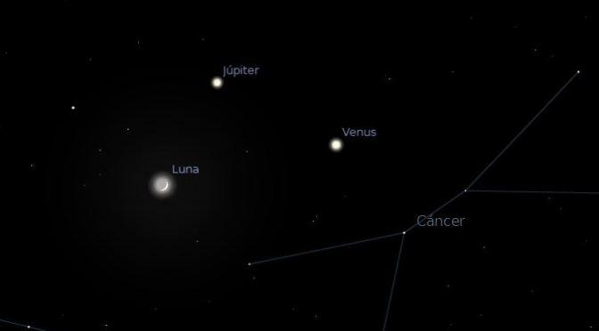Conjunción Venus-Júpiter-Luna