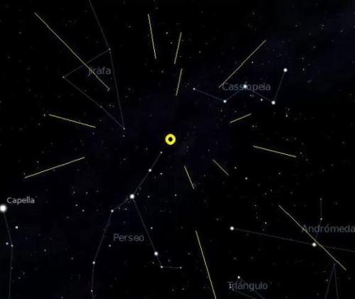 Mapa del cielo mostrando la trayectoria de las Perseidas
