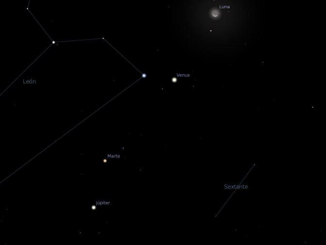 Conjunción: Luna, Venus, Júpiter, Marte.