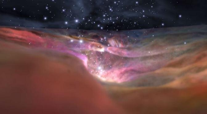 Sobrevolando la nebulosa de Orión en 3D