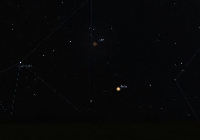 marte y la Luna en eclipse