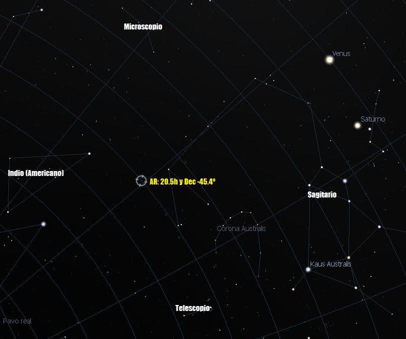Punto común en el cielo de cuatro constelaciones