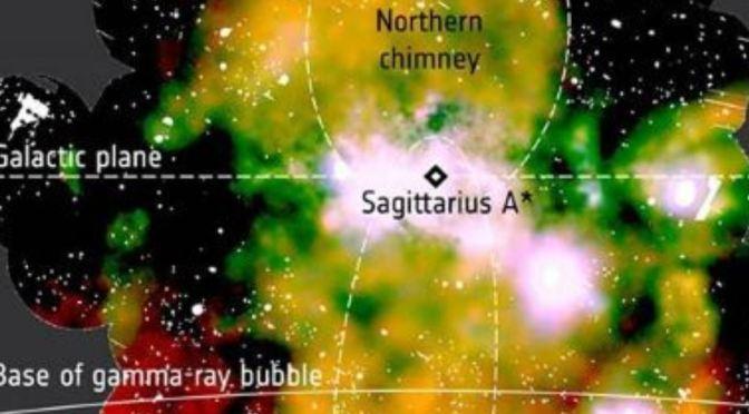 Enormes flujos  de material en las proximidades del agujero negro supermasivo de la Vía Láctea