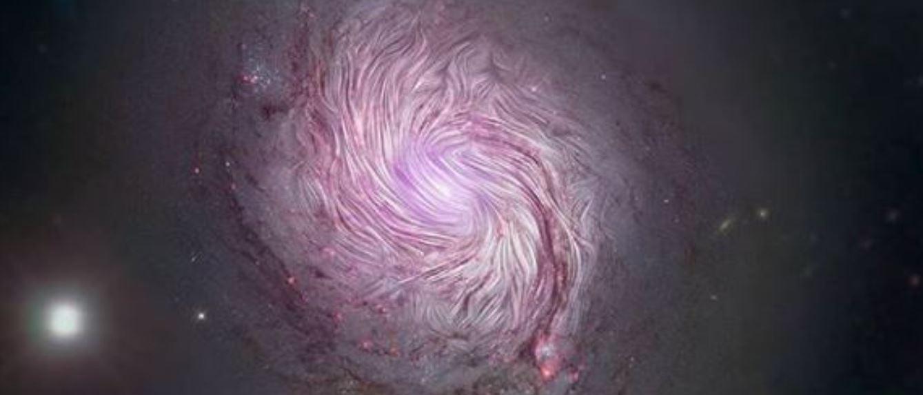 Los impresionantes campos magnéticos de la galaxia M77